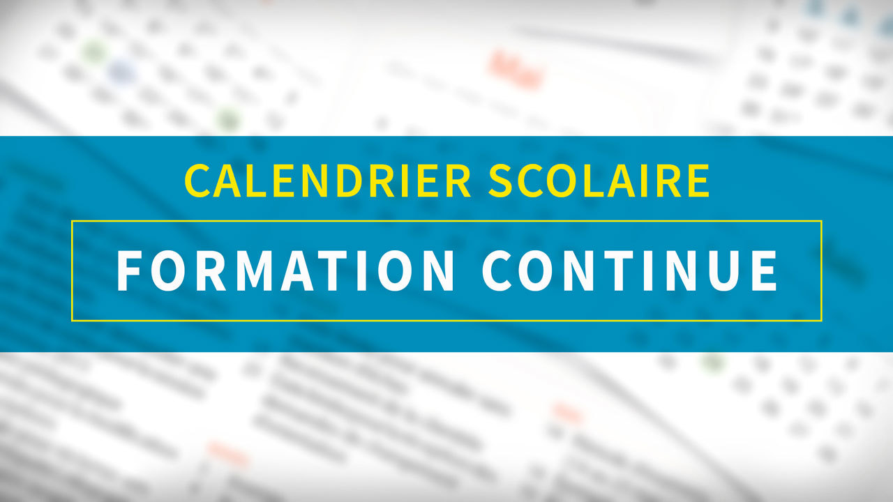 Calendrier scolaire Formation continue